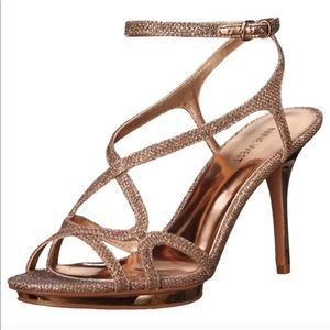 Rose Gold Nine West Maire Fabric Heeled Sandal